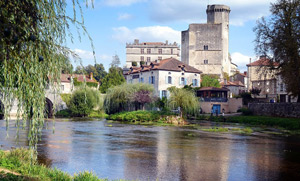 Beautiful chateau and river at Bourdeilles in the Dordogne